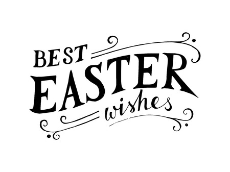 old poster: Easter hand drawn lettering on white background