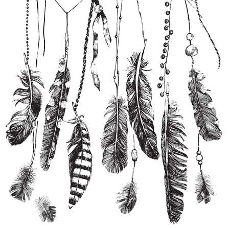birds: Tribal theme background with hand drawn feathers Illustration