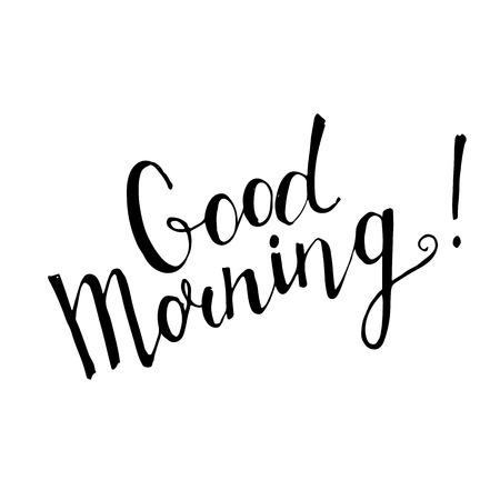 swash: Good Morning handwritten lettering on white background Illustration