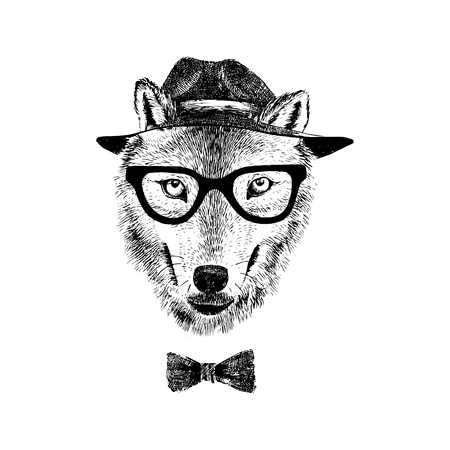 dressed: Dressed up hand drawn wolf hipster