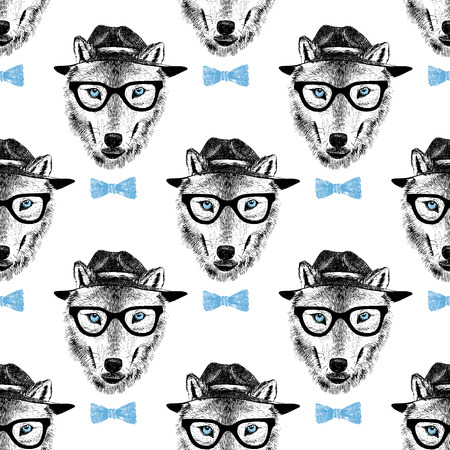 seamless pattern with dressed up hand drawn wolf hipster
