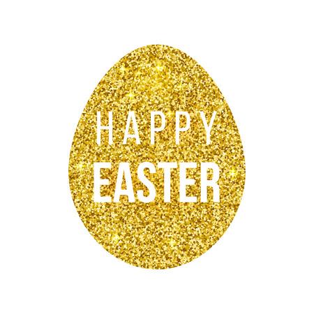 Happy Easter golden egg on black background