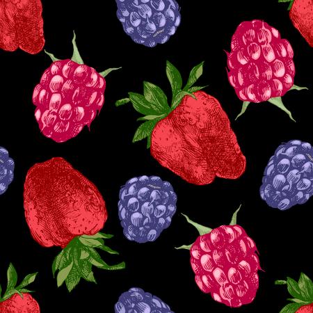wild strawberry: Hand drawn seamless pattern with bright berries