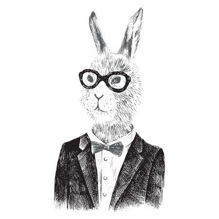 Hand drawn dressed up bunny boy in hipster style Stock Illustratie