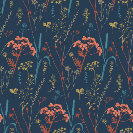 floral elements: Seamless pattern with hand drawn herbs and flowers
