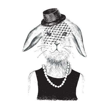 Hand drawn dressed up bunny  girl in hipster style