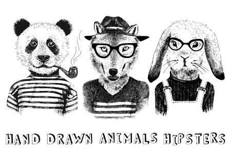 anthropomorphism: Hand drawn dressed up animals set in hipster style