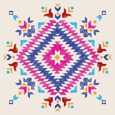 Bright hand drawn tribal design element