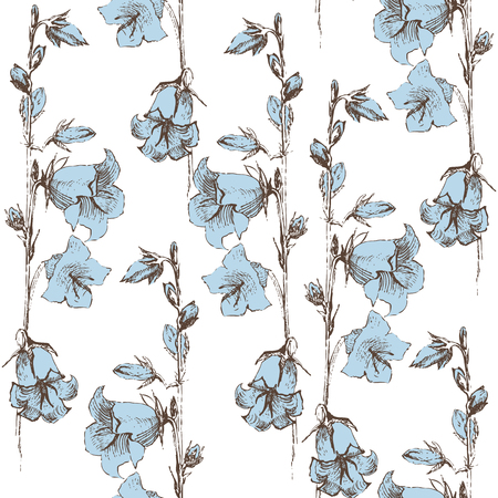 flower sketch: seamless retro-styled background with bluebells on white background Illustration
