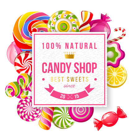 shop: Paper candy shop label with type design and lollipops and candies