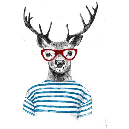 vidro: Mão desenhada vestida em estilo moderno cervos