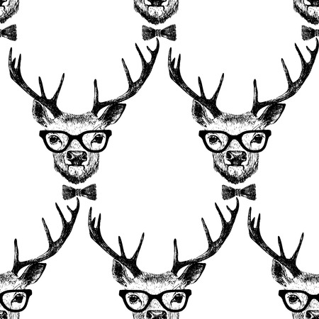 anthropomorphism: Seamless  pattern with hand drawn dressed up deer  in hipster style Illustration