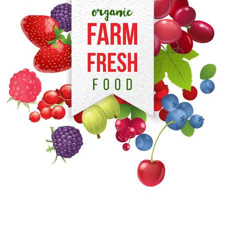dewberry: farm fresh emblem with berries  on white background
