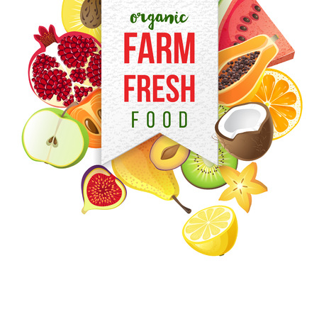 berry: farm fresh emblem with type design and fruits on white background Illustration