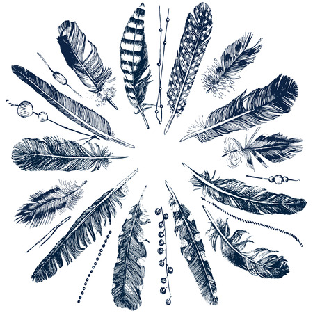 Tribal theme background with hand drawn feathers Vettoriali