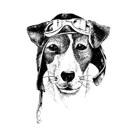 Hand drawn black and white dressed up dog aviator
