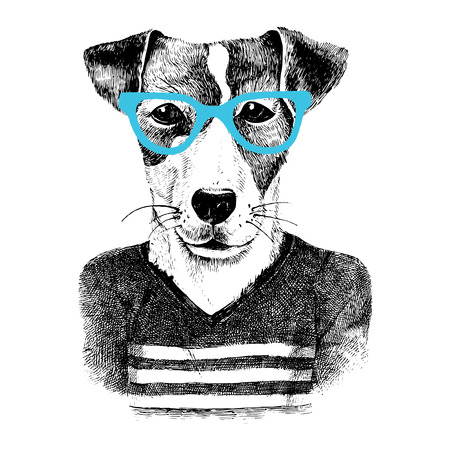 Hand drawn dressed up dog in hipster style Çizim