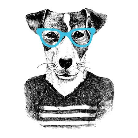Hand Drawn habillé chien dans le style hipster Banque d'images - 58842932