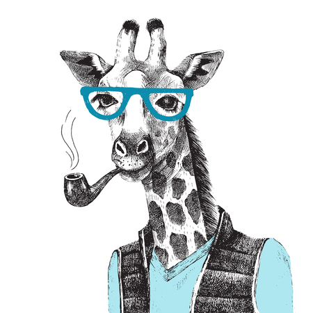 Hand drawn Illustration of dressed up giraffe hipster Vettoriali