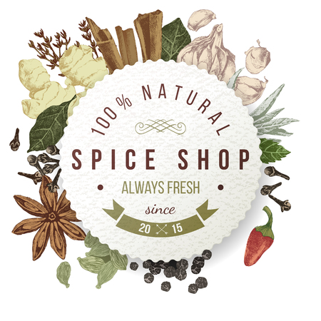 seeds: spice shop paper emblem with hand drawn spices Illustration