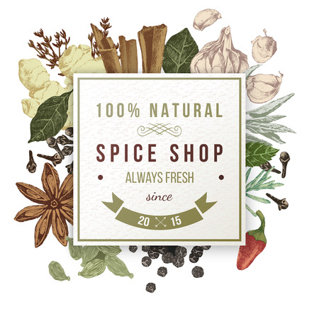 spice shop paper emblem with hand drawn spices Stock Illustratie