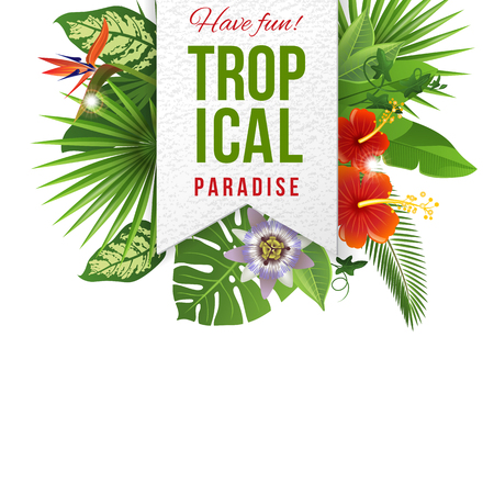 tropical plants: Paper emblem with type design and tropical flowers and plants