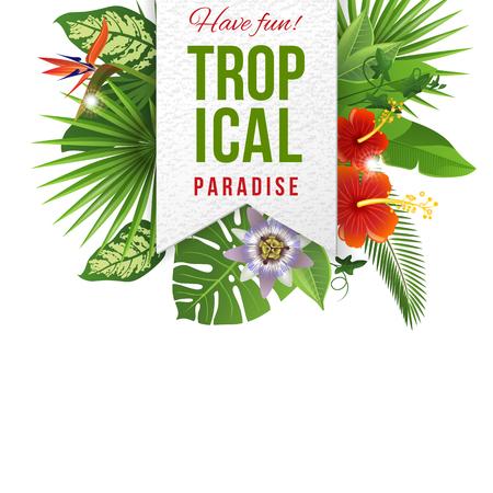 Papieren embleem met lettertype en tropische bloemen en planten