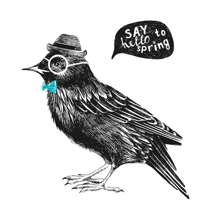 dressed up: dressed up hand drawn starling