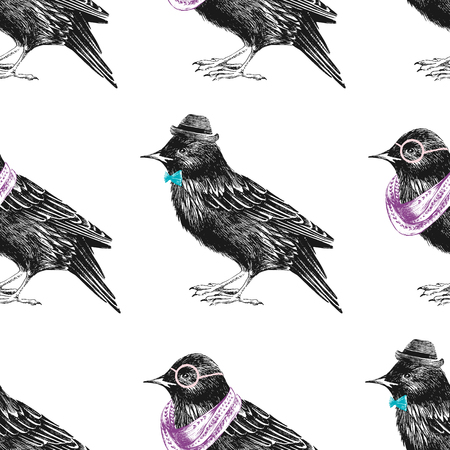 feathering: seamless pattern with dressed up hand drawn starling Illustration