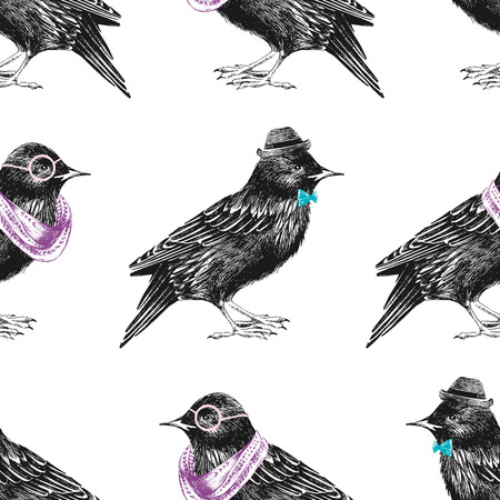 starling: seamless pattern with dressed up hand drawn starling Illustration