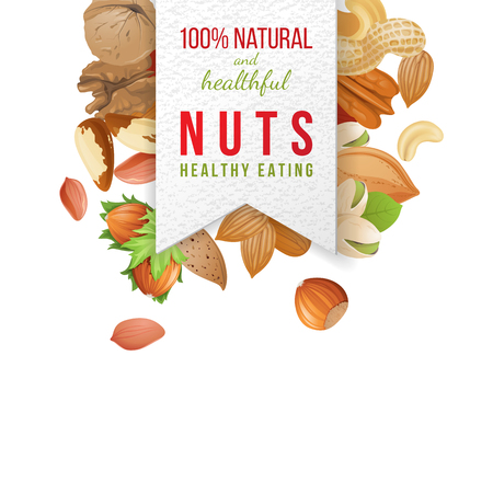 nut: Paper nuts label with type design and nuts