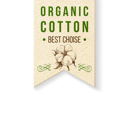 etichetta di carta di cotone organico con il tipo di design