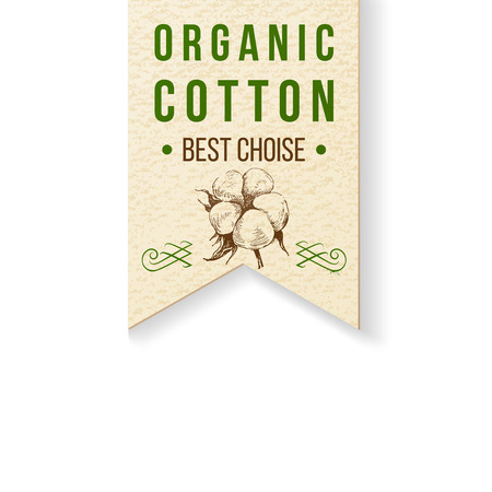 cotton bud: Organic cotton paper label with type design