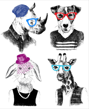 Hand drawn dressed up animals set in hipster style