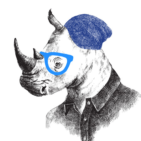 anthropomorphism: Hand drawn dressed up rhino in hipster style Illustration