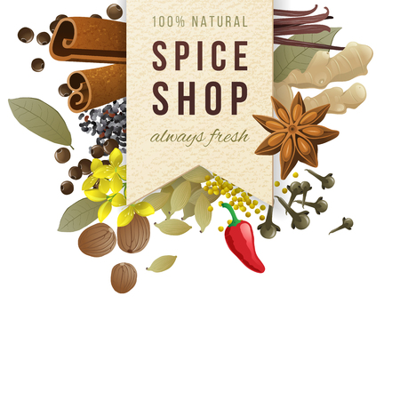 spice shop paper emblem with different spices in vintage style Illustration