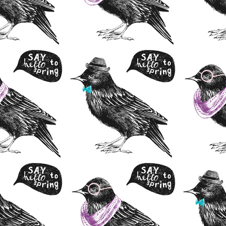 seamless pattern with dressed up hand drawn starling Illustration