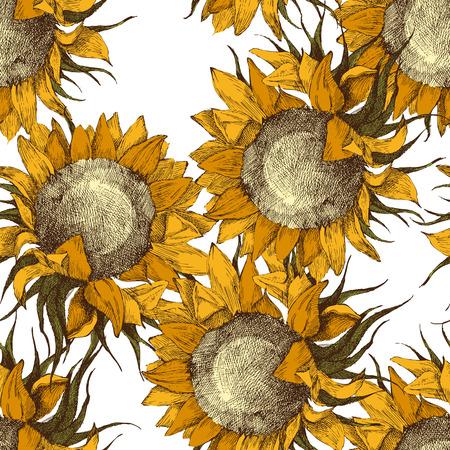 Naadloze vintage ornament met zonnebloemen Vector Illustratie