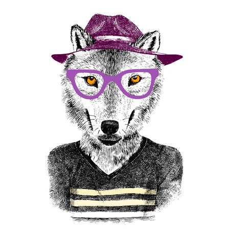 Dressed up hand drawn wolf hipster