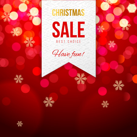 chrismas: Chrismas sale banner on red bokeh background Illustration