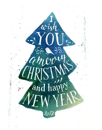 winter trees: Christmas card with hand drawn lettering on watercolor background - I wish you a merry Christmas and happy New Year 2017 Illustration