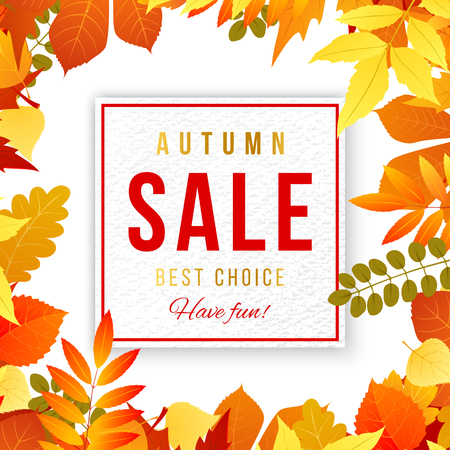 bage: Sale banner with bright autumn leaves