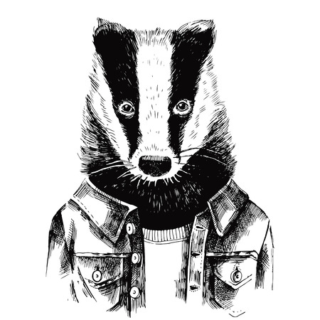 Hand drawn dressed up black and white badger in hipster style