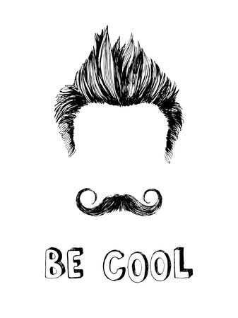 Be cool black and white hand drawn poster Ilustração