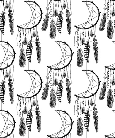 lightness: hand drawn seamless pattern with indian dream catcher