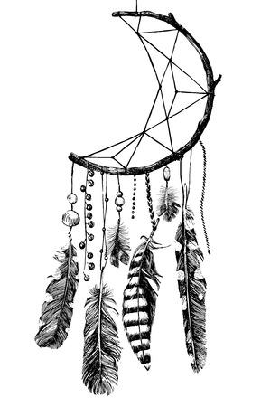 hand drawn indian dream catcher Ilustração