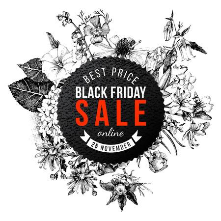 Paper Black Friday sale emblem on hand drawn floral background Illustration