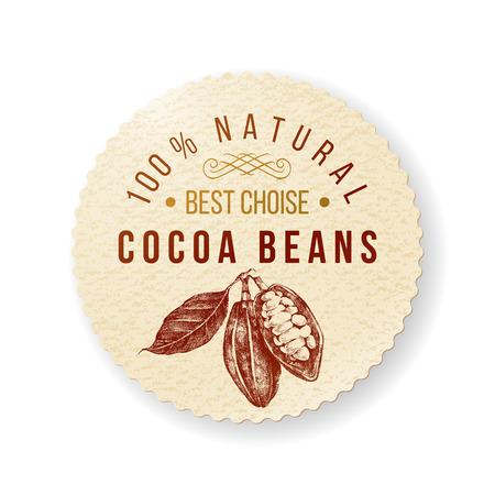 cocoa: Organic cocoa round label with type design