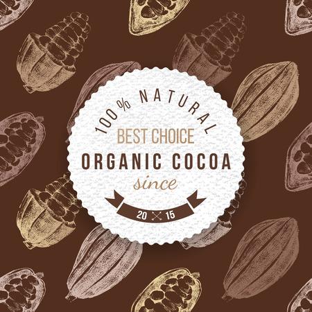 Biologische cacao rond die etiket met type ontwerp op naadloze cacaoachtergrond Stock Illustratie