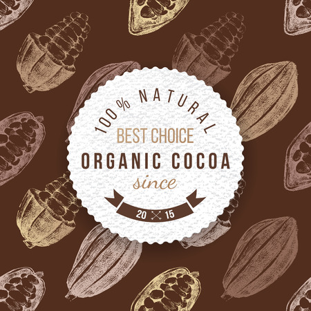 Organic cocoa round label with type design on seamless cocoa background Stock Vector - 64111160